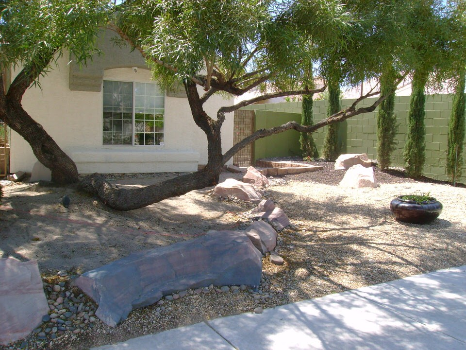 front yard with a large tree and rocks