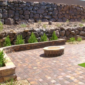 Fire pit and paver walkway